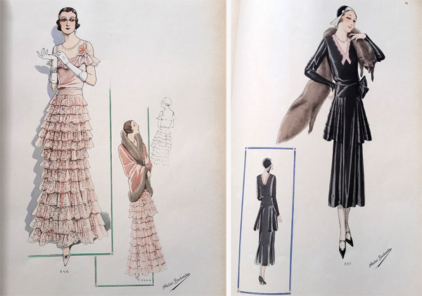 Left, style robe of taffeta and maline lace. Wrap in panne banded with fur. Right, afternoon robe of black taffeta, pink georgette yoke finished off with a bow at the back.