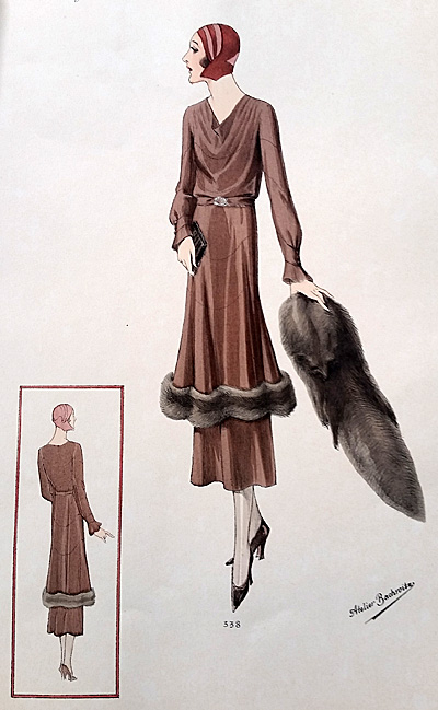 Afternoon dress of velvet, fur-trimmed long tunic, waving ajour rows.
