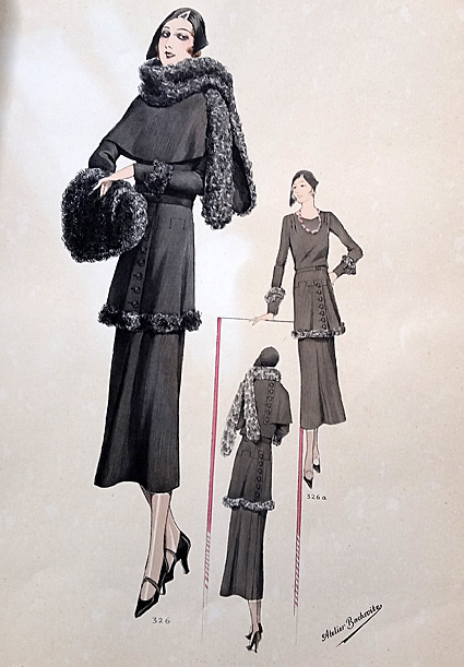 Promenade dress of black broadcloth. Caracul scarf, muff and banding.