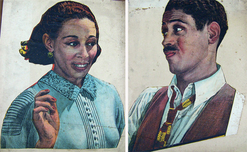 Cut-outs from an Oscar Micheaux movie poster.