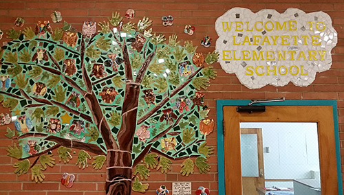 This mosaic mural is in the lobby at Lafayette school. Bucks County artist Terri Herring and Amy Winston, community coordinator for the Bucks Artists in Residence program worked with students to produce the mural of a tree and the creatures that might live near it.