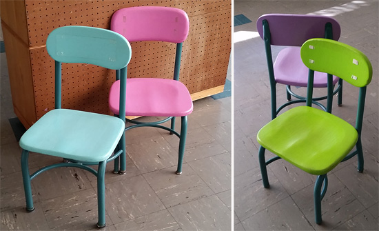 Tiny chairs in pastel colors were in the kindergarten rooms.