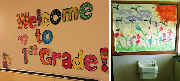 A welcome sign outside a classroom, and a spring collage above an Art Deco water fountain inside a classroom.