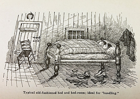 An illustration from A. Monroe Aurand's book shows a bundled couple - without the centerboard.