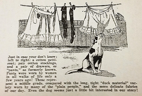 A page from the A. Monroe Aurand book on bundling identifies a woman's undergarments on the clothesline.