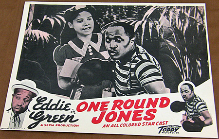 "Lobby card for ""One Round Jones,"" starring Eddie Green."