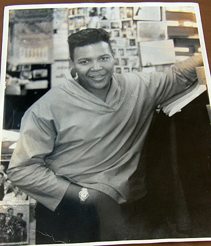 Full view of Chubby Checkers at Krass Bros. men's store.