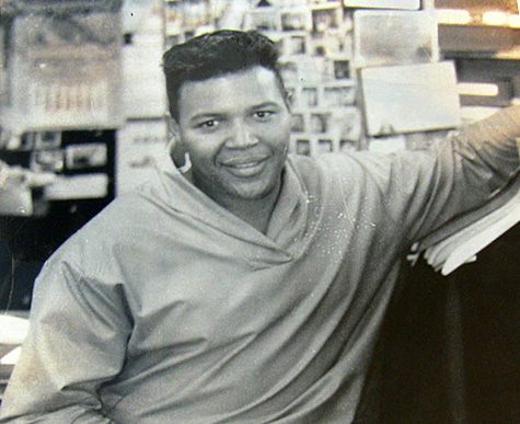 Up-close view of Chubby Checkers at Krass Bros. men's store in Philadelphia.