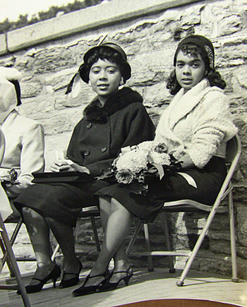 "Doris Wooten (in black suit) was ""Miss Morgan State University"" in 1958-1959. The school is located in Baltimore, MD. At the time, she was a junior honor student from the Bronx, NY."