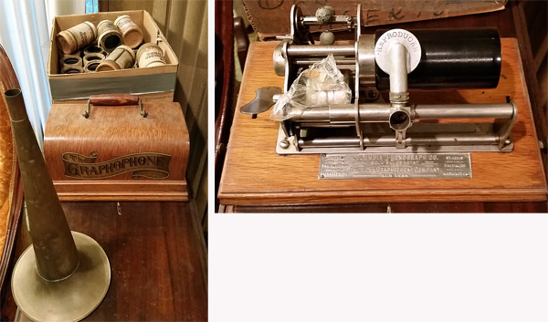 A Columbia Graphophone, (right), along with horn, cover and wax cylinders with recordings (right).