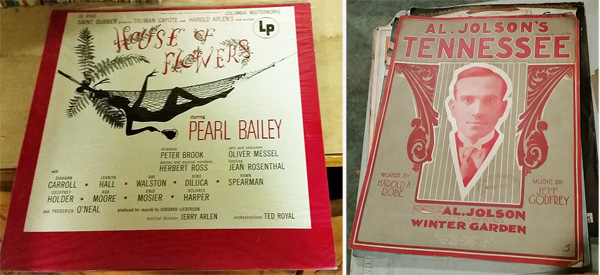 """Cast album from """"House of Flowers"""" with Pearl Bailey, along with sheet music featuring Al Jolson."""