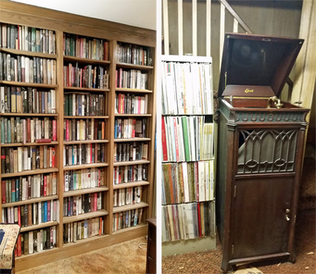 A book shelf loaded with books (left) in one room and an Edison phonograph in the basement.