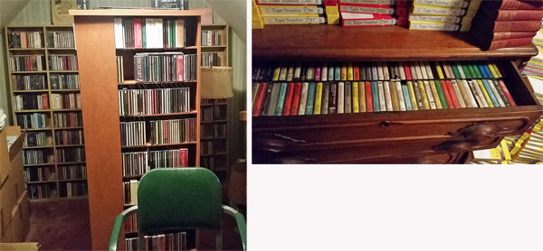 CDs on shelves in the basement and cassettes in drawers in a room at Maynard Bertolet's house.