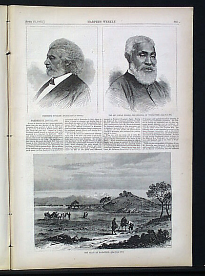 Illustration of Frederick Douglass, left, in 1877 Harper's Weekly, on his being named a U.S. marshal in Washington, DC.