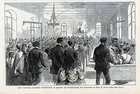A Harper's Weekly illustration of the National Colored Convention in Washington, DC, in 1869. Frederick Douglass spoke at the one in 1883. Illustration by Theo R. Davis.