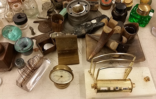 Part of the collection of inkwells sold at auction.