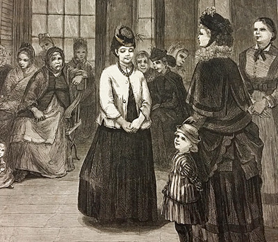 """Up-close view of the Harper's Weekly cover drawing of """"Choosing a Girl."""""""