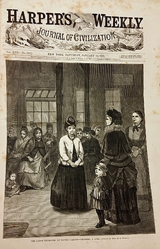 Full view of the Harper's Weekly cover by M.L. Stone.