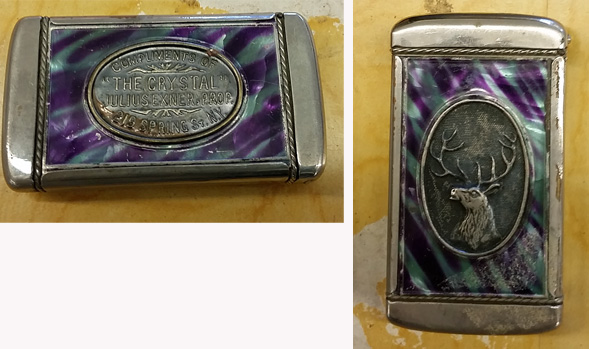 Front and back of a fancy match safe.