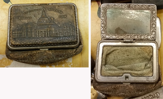 Not a match safe but a coin purse from a world's fair, possibly the 1939 New York World's Fair.