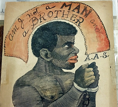 """Up-close view of the """"Am I Not A Man And A Brother"""" drawing."""
