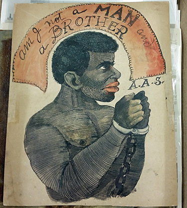 """Full view of the """"Am I A Not A Man and A Brother"""" drawing."""