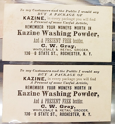 The back of the trade card for Kazine washing powder.