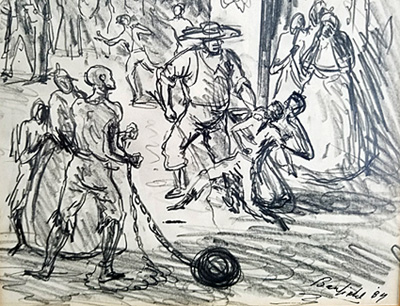 An up-close view of the pencil drawing of a slave auction by Elliott Banfield.