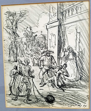 A full view of the pencil drawing of a slave auction by elliott banfield