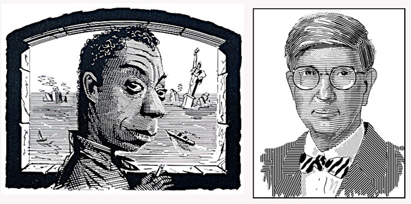 Elliott Banfield illustrations of writer James Baldwin and political commentator George Will.