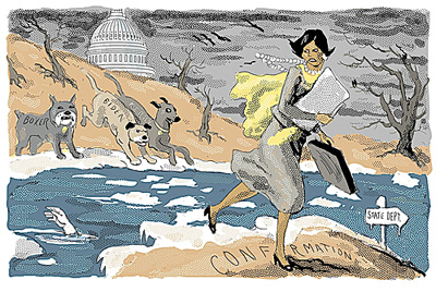 """""""Condi Rice Crossing the Ice"""" cartoon for the the New York Sun, 2005. This was drawn during Condoleezza Rice's Senate confirmation hearing for secretary of state."""