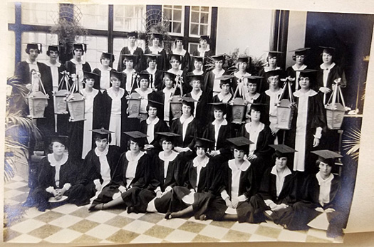The 1926 graduating class of the all-girl Ogontz School in Rydal, PA.