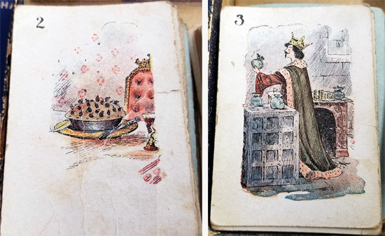 Two illustrated cards from the game show blackbirds emerging from a pie and the king counting his money.
