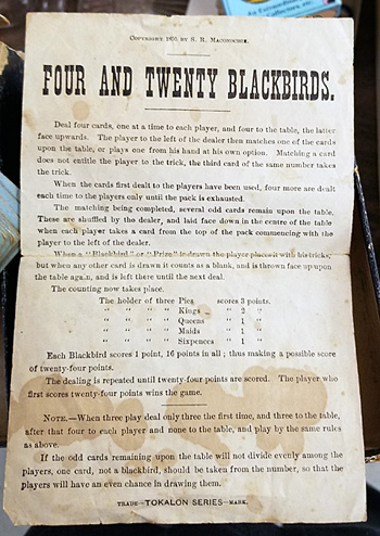 """Instructions for the """"Four and Twenty Blackbirds"""" game."""