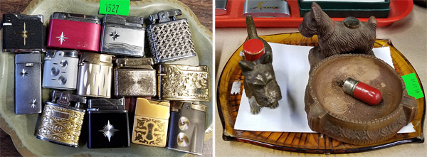 Silver- and gold-plated lighters and Scottie dog lighters.