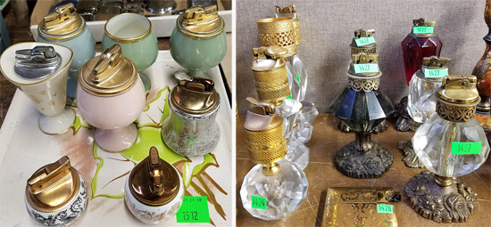 Porcelain lighters and cut-glass lighters.