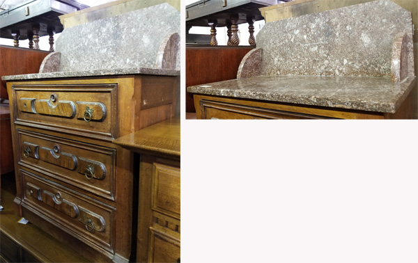 Bedroom chest of drawers with beige marble shelf.