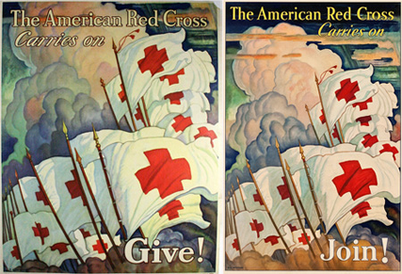 Two N.C. Wyeth Red Cross posters from 1933. From originalmovieposters.com and Heritage Auctions.