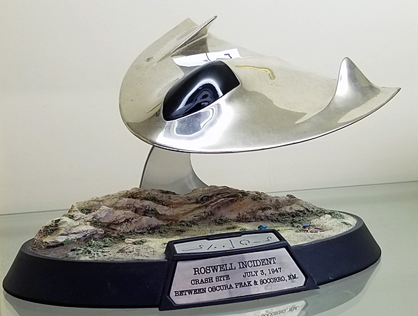 Full view of the replica of the Roswell spacecraft.