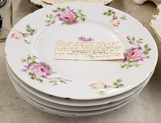 Rose-pattern plates belonging to Norman Fulmer's mother.