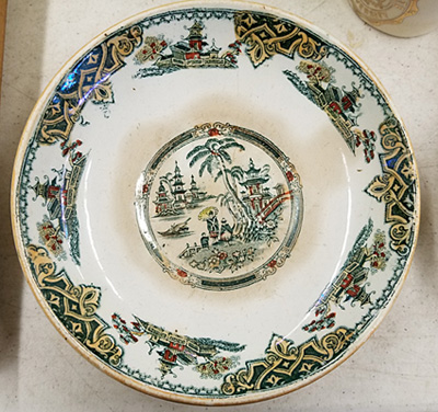 Green transferware plate from Norman Fulmer's mother.