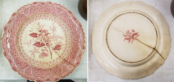 Red transferware plate belonging to Norman Fulmer's mother.