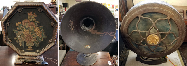 Radio speaker with needlepoint design (left), horn speaker and an Atwater Kent speaker.