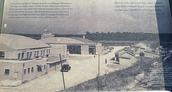 The Tuskegee Army Air Field, 1945. The hangar in foreground was built in 1941 and the one in back in 1943. Photos from boards at the Moton Field site.
