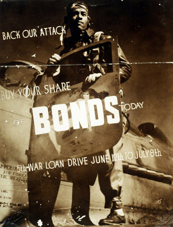 A 1944 poster featuring a Tuskegee Airmen urges people to buy bonds. From National Park Service website.
