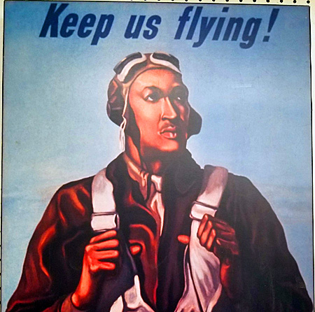 """An up-close view of the 1943 """"Keep Us Flying"""" poster featuring a Tuskegee airman."""