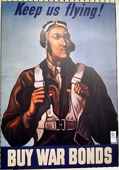 """A full view of the 1943 """"Keep Us Flying"""" poster at auction."""