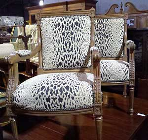 Two Lovely Upholstered Animal Print Chairs